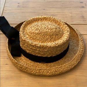 Scala Raffia Straw Hat With Black Bow